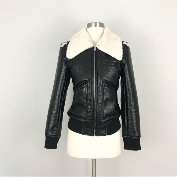 9549a509d Belle Vere Black Faux Leather Fur Bomber Jacket